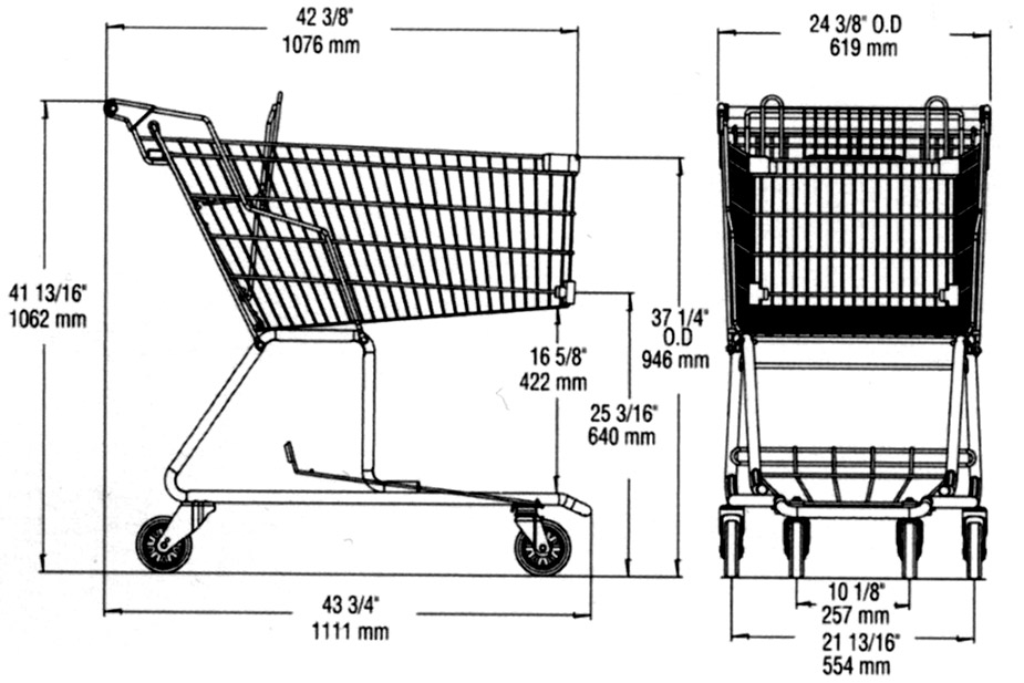 dimension shopping cart ms115