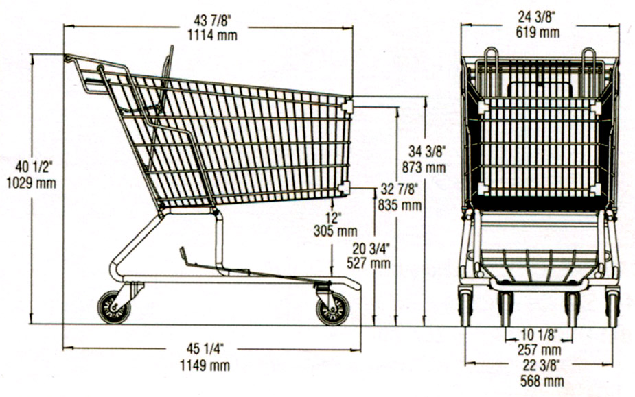 dimension shopping cart ms118